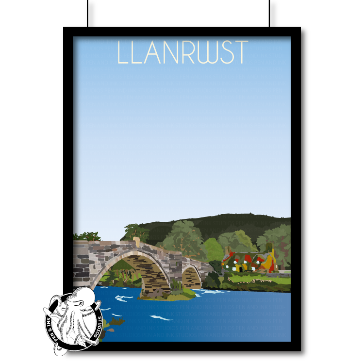 Portrait Lustre Art Print Travel---Vintage Style Travel Poster - Llanrwst