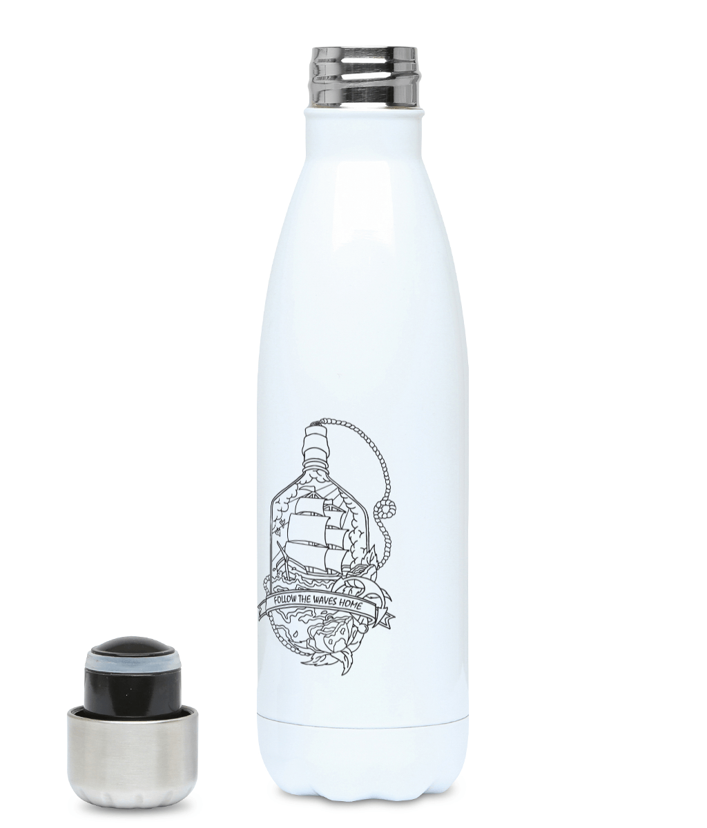 Follow The Waves Home - Plastic Free 500ml Water Bottle - Pen and Ink Studios