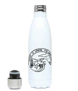 Home Is Where The Waves Are---Plastic Free 500ml Water Bottle, Suggested Products, Pen and Ink Studios Adventure Clothing