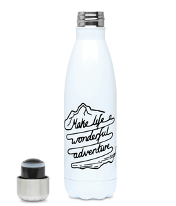 Make Life A Wonderful Adventure - Plastic Free 500ml Water Bottle, Suggested Products, Pen and Ink Studios Adventure Clothing