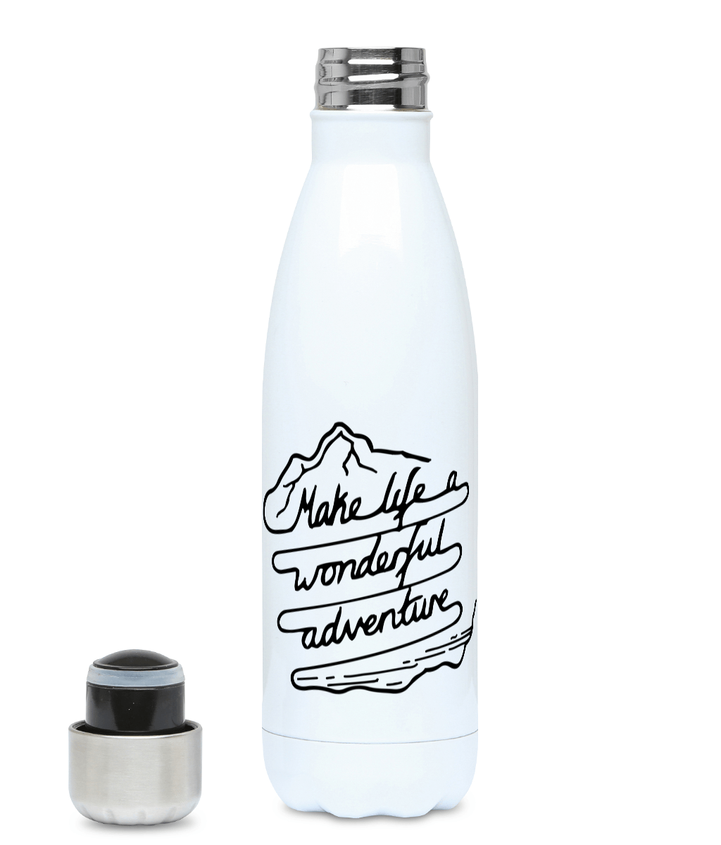 Make Life A Wonderful Adventure - Plastic Free 500ml Water Bottle - Pen and Ink Studios