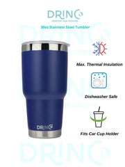 DRINCO® 30oz Insulated Tumbler Spill Proof Lid w/2 Straws (Royal Blue)