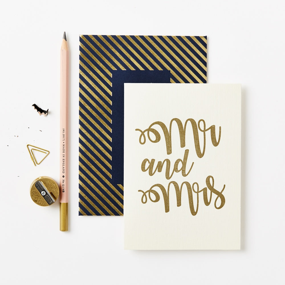 Katie Leamon Gold Mr and Mrs Card