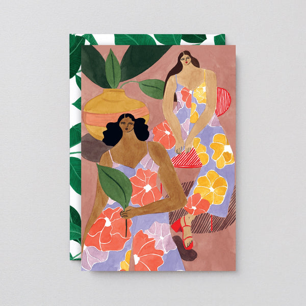 Wrap Floral girls: greeting card