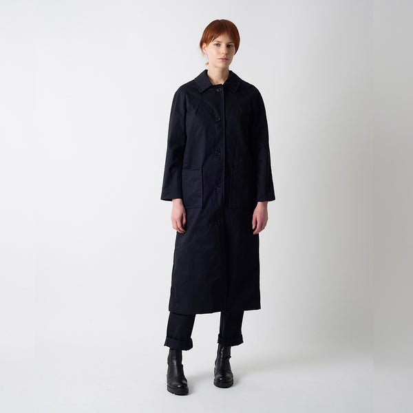 Black Herringbone Wax Louis Coat