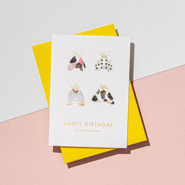 A'Laise You wonderful Creature Birthday Moth Card
