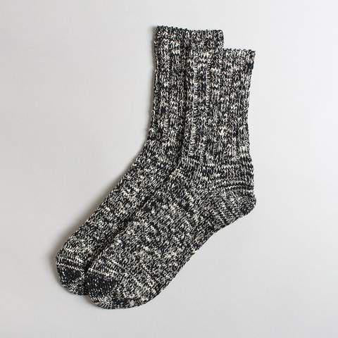 Rototo Black Low Gauge Slub Socks