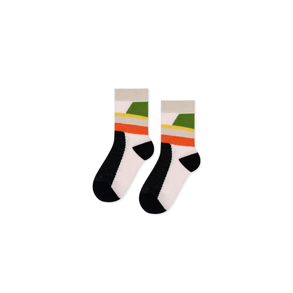 Hansel From Basel Orange Mini Colourblock Crew Socks/ 109962-ORA