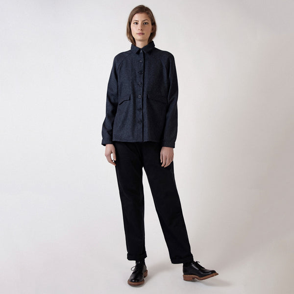 Navy Herringbone Wool A Line Jacket