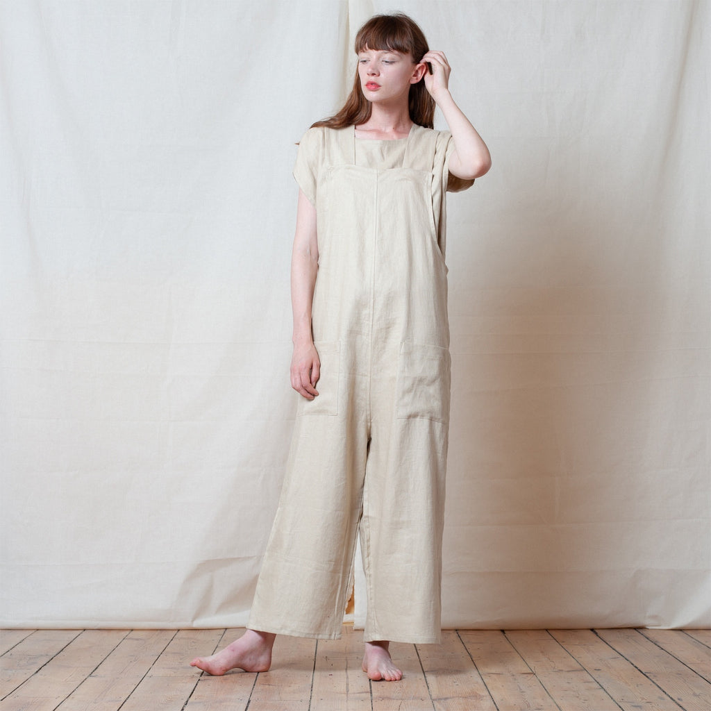 Natural Linen Strike Suit Long