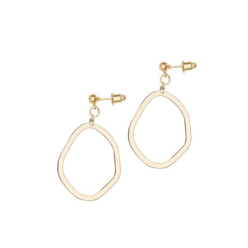 A Weathered Penny Gold Asymmetric Oval Earrings