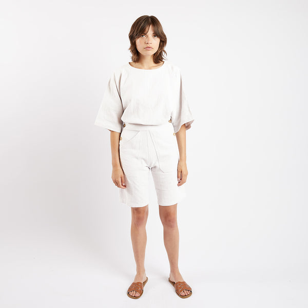 Cream Linen Ree Shorts