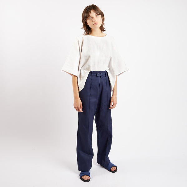 Navy Drill Pop Pleat Trousers
