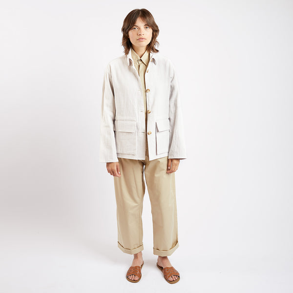 Cream Linen Travail Jacket
