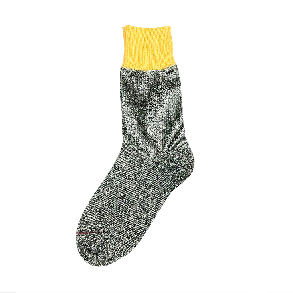 Rototo Yellow/Charcoal silk and cotton double face socks