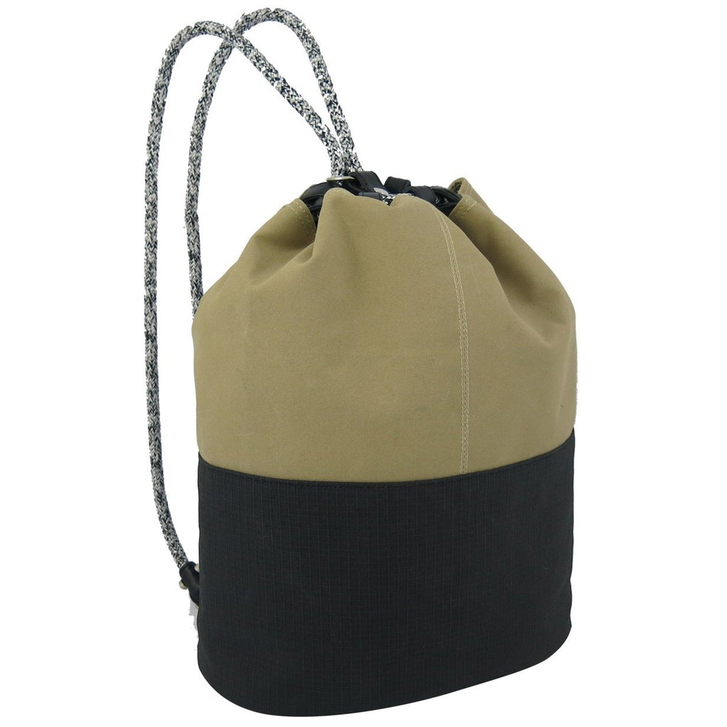 Sand and Black Coated Canvas Rope Duffel