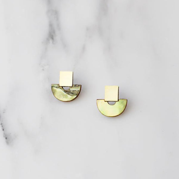 Wolf and Moon Mini Marina Studs in Olive Mother of Pearl