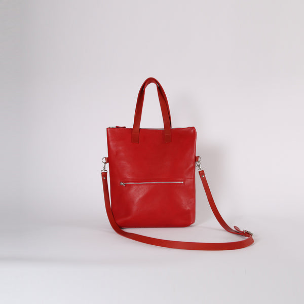 Red Zip Top Tote