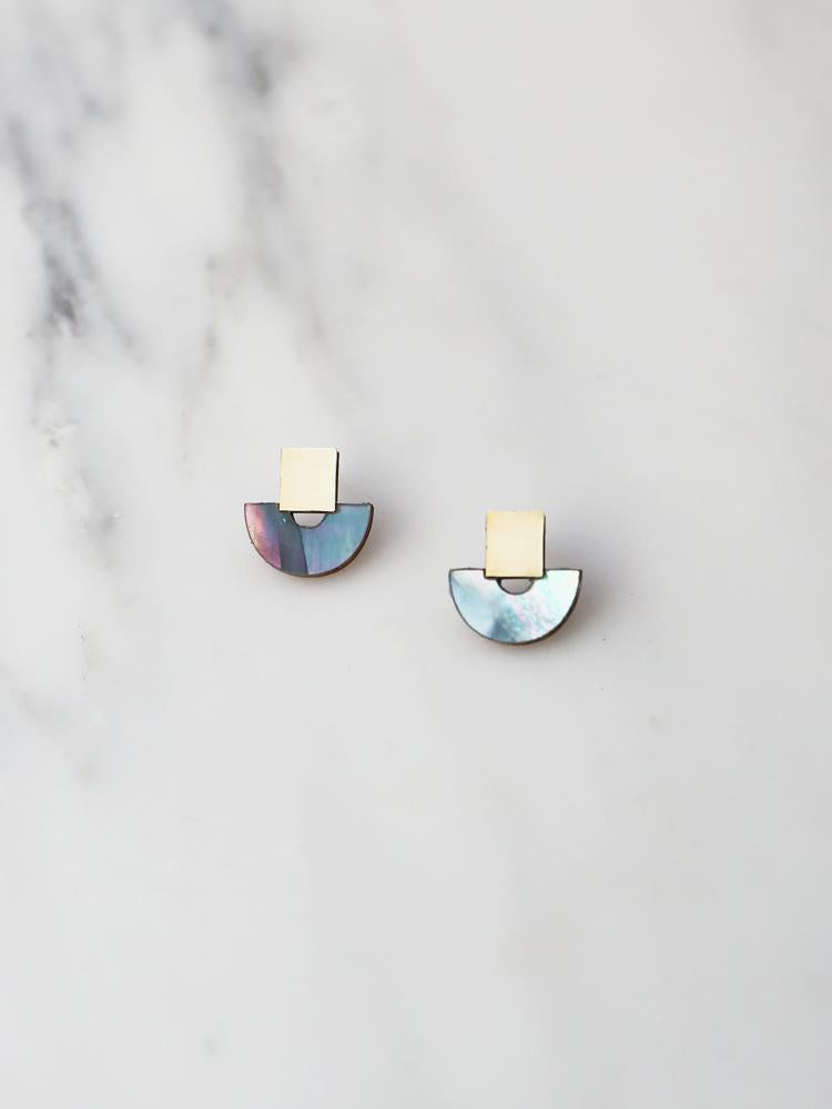 Wolf and Moon Mini Marina Studs in Blue Mother of Pearl