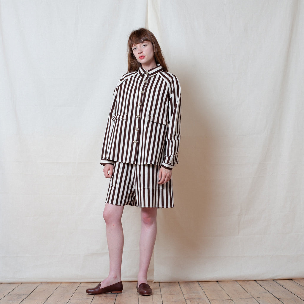 Brown Flax Stripe A Line Jacket