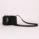 Black Croc Small Alpha Bag