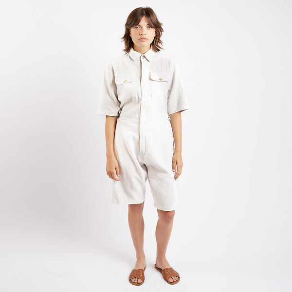 Cream Linen Short Boiler Suit