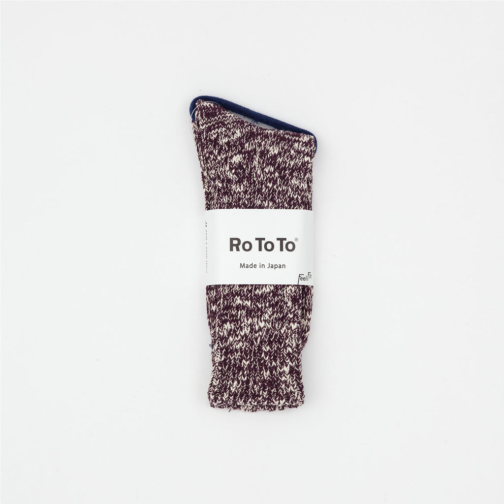 Rototo Burgundy Low Gauge Slub Socks
