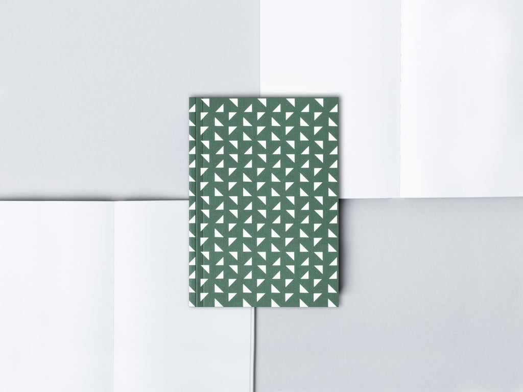 Ola Green Triangle Print Small Notebook