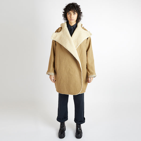 Tan Grid and Sherpa Batwing Coat
