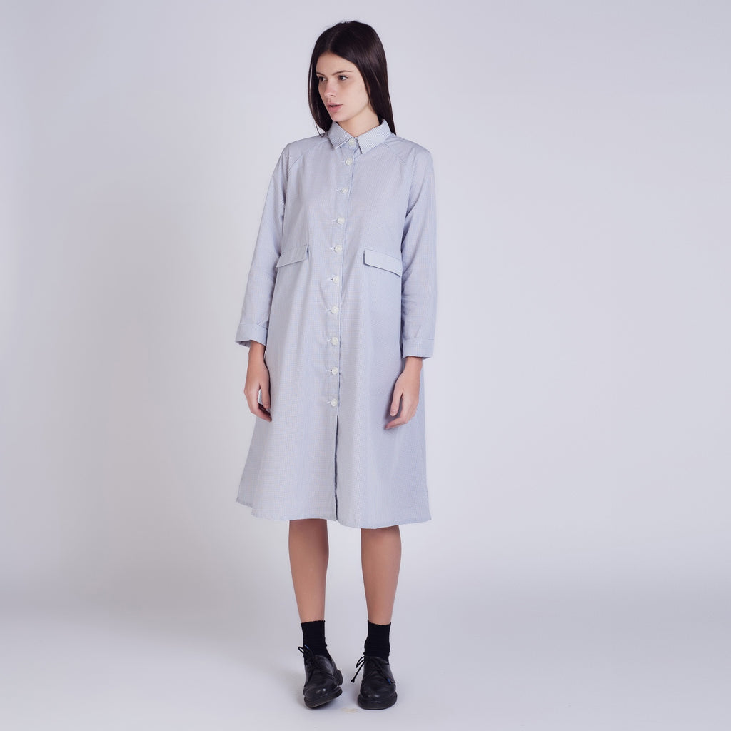 Navy Check A-Line Duster