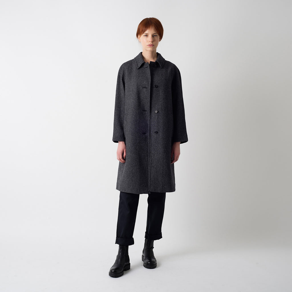 Grey Herringbone Wool Louis Coat