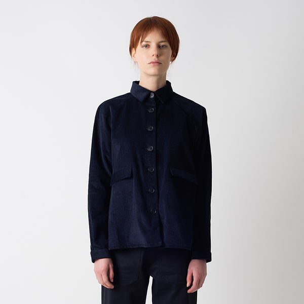 Navy Cord A-Line Jacket