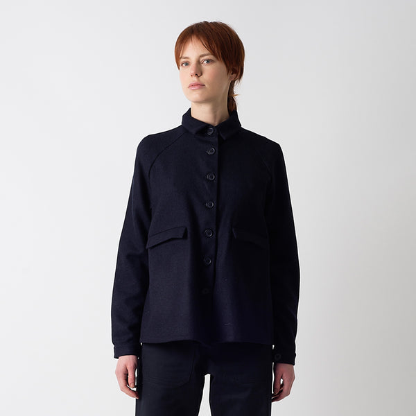 Navy Wool A-Line Jacket