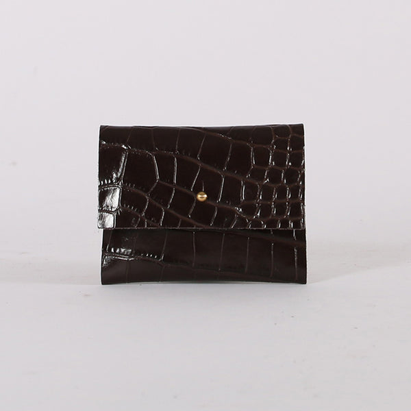 Chocolate Croc Loux Wallet