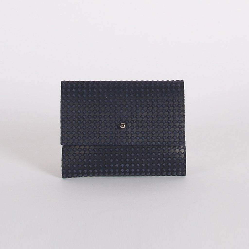 Navy Suede Houndstooth Loux Wallet