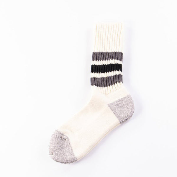 Rototo dark grey/black coarse ribbed oldschool socks