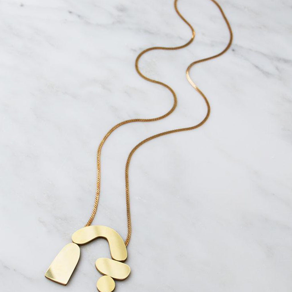 Wolf and Moon Cassia Necklace in Brass