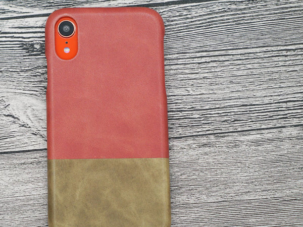 Coral iPhone XR with Rosewood Pink leather case