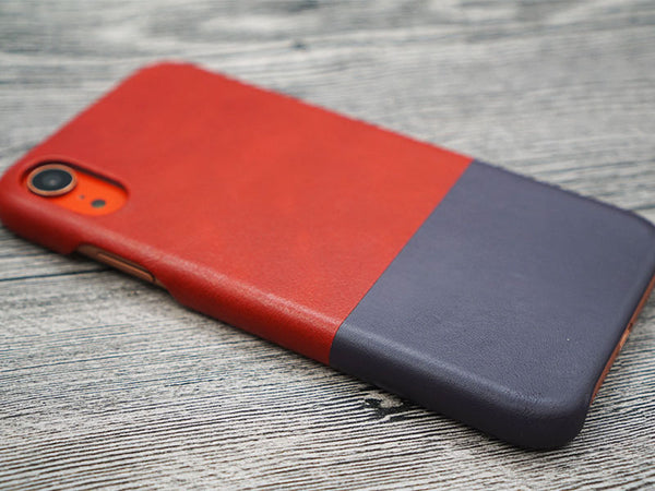 Coral iPhone XR with Crimson Red leather case