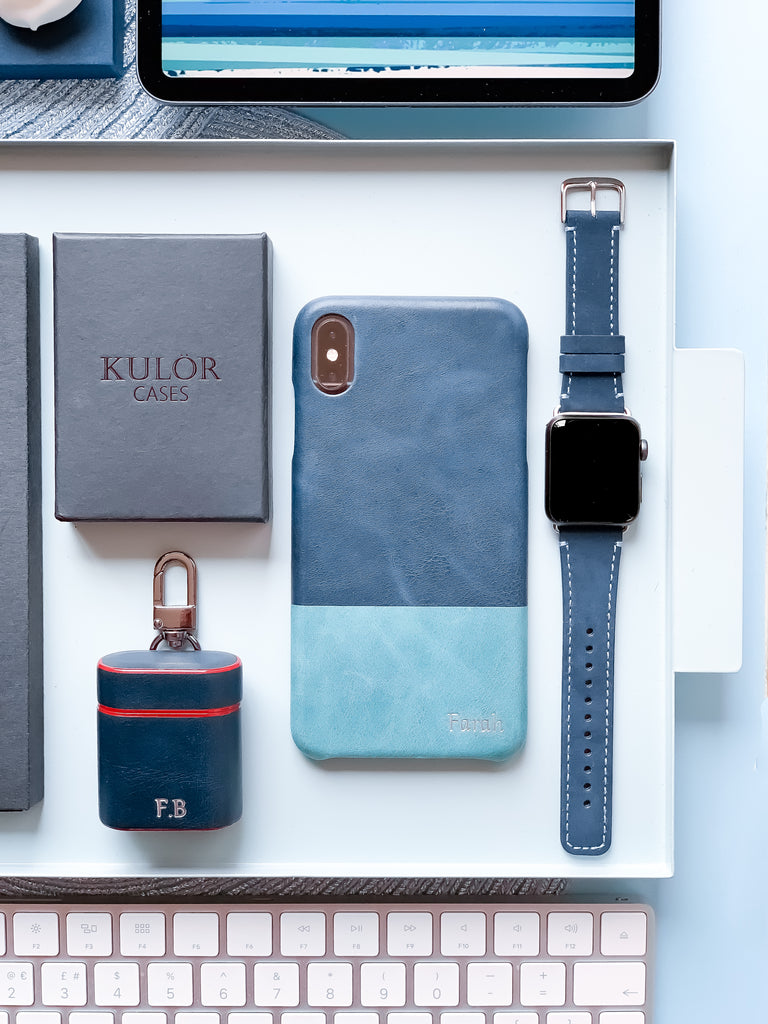 personalized iphone and airpods leather cases