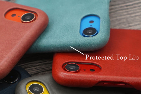protected top lip iphone leather case