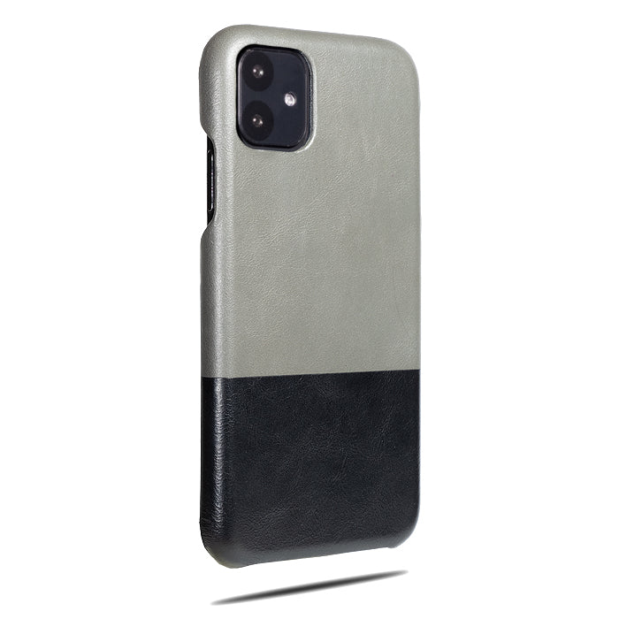 Fossil Gray & Crow Black iPhone 11 Leather Case-iPhone 11 Leather Snap-On Case-Personalized custom iPhone case-Kulör Cases