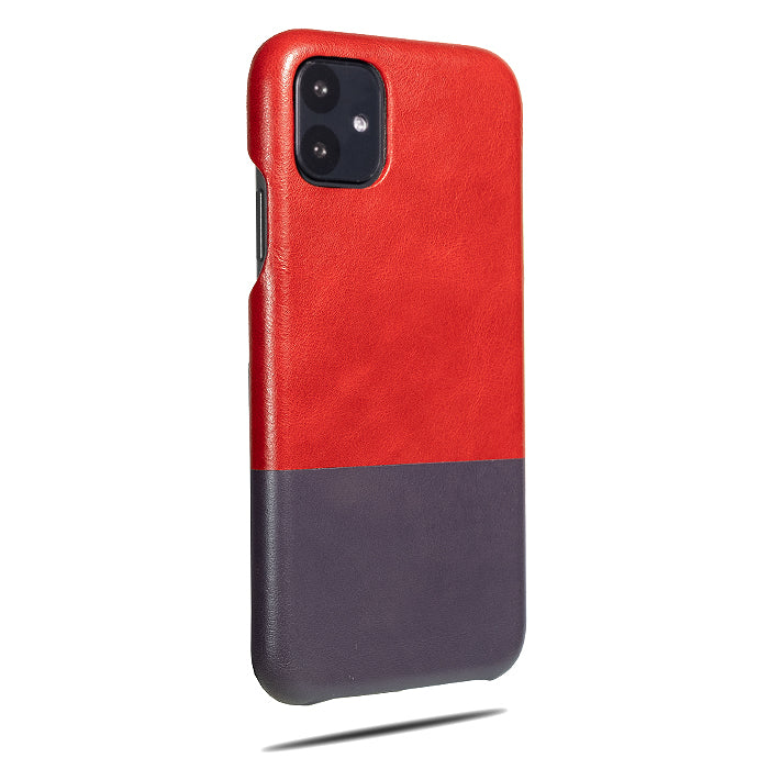 Crimson Red & Wine Purple iPhone 11 Leather Case-iPhone 11 Leather Snap-On Case-Personalized custom iPhone case-Kulör Cases