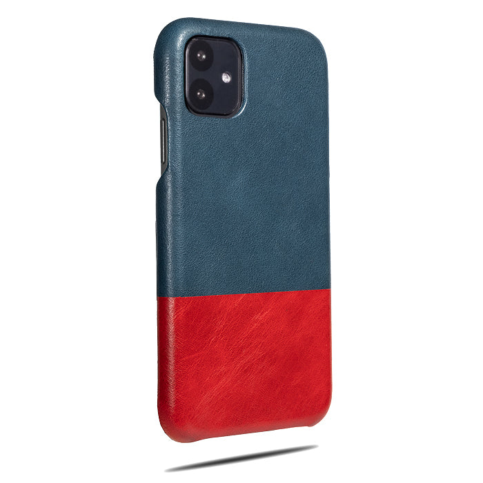 Peacock Blue & Crimson Red iPhone 11 Leather Case-iPhone 11 Leather Snap-On Case-Personalized custom iPhone case-Kulör Cases