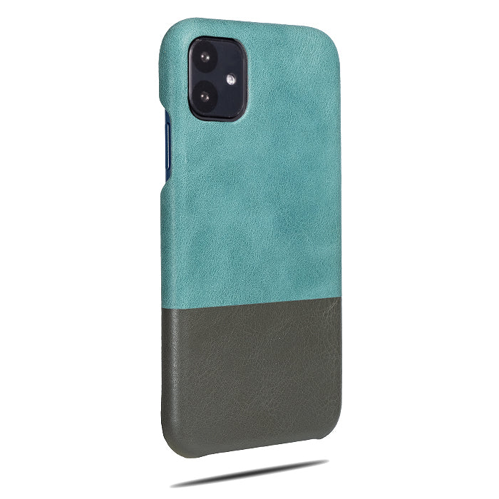 Ocean Blue & Pebble Gray iPhone 11 Leather Case-iPhone 11 Leather Snap-On Case-Personalized custom iPhone case-Kulör Cases