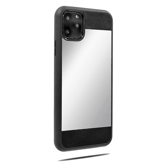 Black Leather iPhone 11 Pro Max Reflective Mirror Case