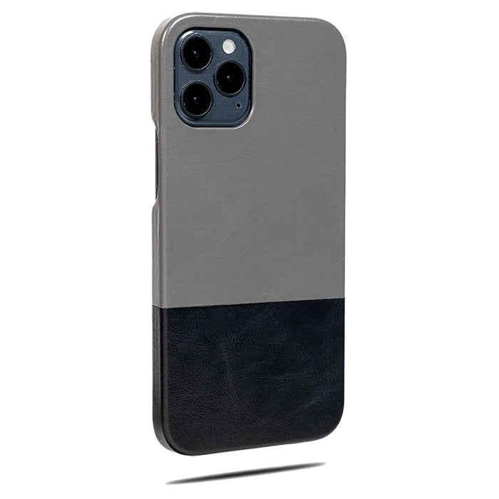 Fossil Gray & Crow Black iPhone 12 Pro Max Leather Case-Kulör Cases- Custom Apple Phone Case