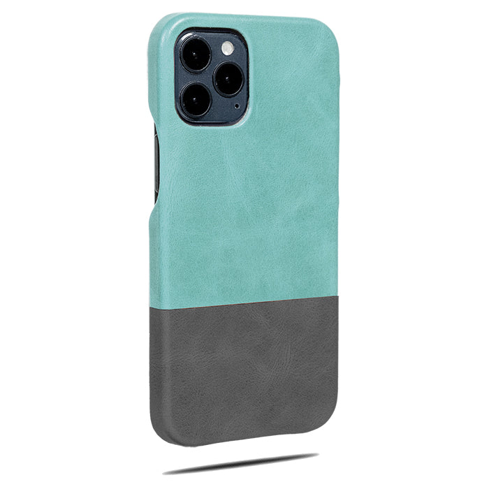 Ocean Blue & Pebble Grey iPhone 12 Pro Max Lærveske-Kulör Cases- Tilpasset Apple telefon Veske