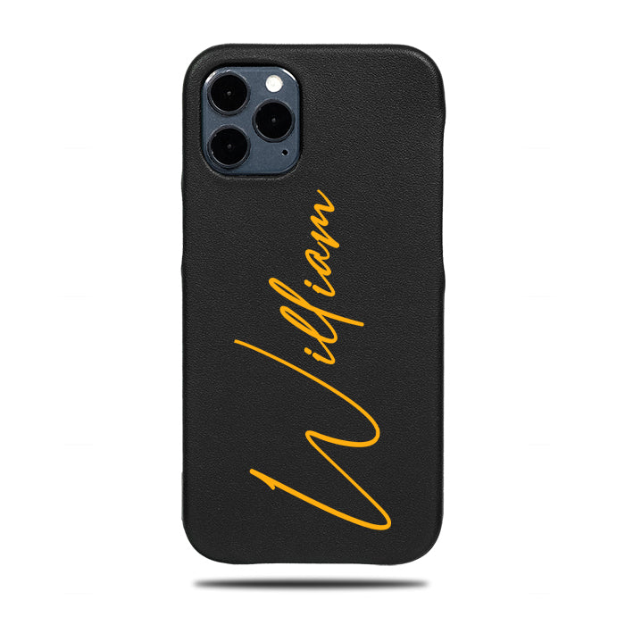 Personalized Signature iPhone 12 Pro Black Leather Case