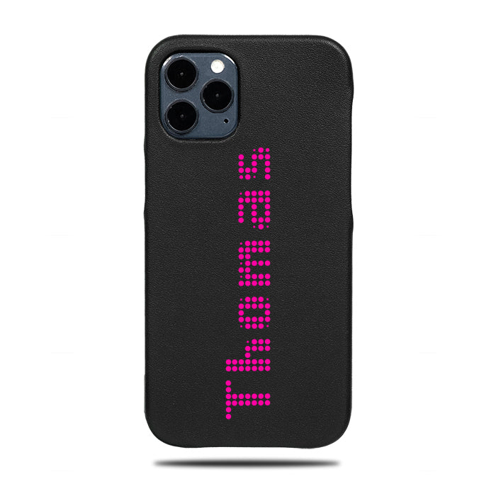 Personalized Bot Font iPhone 12 Pro Black Leather Case